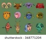 set of hand drawn astrological... | Shutterstock .eps vector #368771204