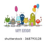cute monsters greeting card.... | Shutterstock .eps vector #368793128