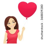cute girl thinking about love... | Shutterstock .eps vector #368839280