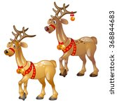 Two Funny Reindeer With...