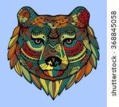 patterned bear's head in the... | Shutterstock .eps vector #368845058