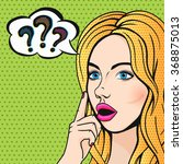 pop art stupid woman face with...   Shutterstock . vector #368875013