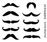 Set Of Mustache On White...