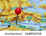 Small photo of Aigio pinned on a map of Greece