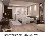 3d rendering night bedroom with ... | Shutterstock . vector #368902940