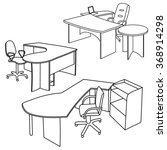 workplace interior sketch. hand ... | Shutterstock .eps vector #368914298