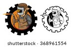 welder round label flame | Shutterstock .eps vector #368961554