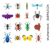 Insect Icon Flat Set Isolated...