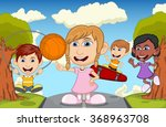 children play basketball ... | Shutterstock .eps vector #368963708