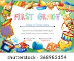 certificate with toys in... | Shutterstock .eps vector #368983154