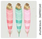 set of shiny gold foil feathers....