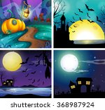 four night scenes with fullmoon ...