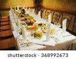 banquet wedding table setting... | Shutterstock . vector #368992673