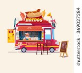 hot dog  food truck. street... | Shutterstock .eps vector #369027284