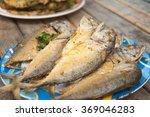Fried Mackerel Fish In Blue...
