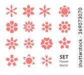 set pink vector flowers | Shutterstock .eps vector #369073070