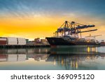 cargo ship loading containers... | Shutterstock . vector #369095120