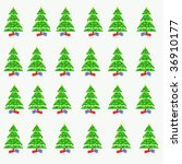 christmas tree pattern on white ... | Shutterstock . vector #36910177