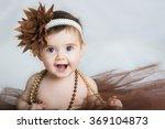 smiling baby ballerina in brown ... | Shutterstock . vector #369104873
