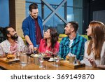 friends dining and drinking...   Shutterstock . vector #369149870