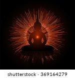 Black Buddha Silhouette Agains...