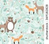 Stock vector vector seamless pattern forest animals illustration bear deer fox rabbit bird hedgehog 369182828
