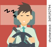 sleepy driver vector | Shutterstock .eps vector #369192794