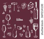 hand drawn wine elements. set... | Shutterstock .eps vector #369214130