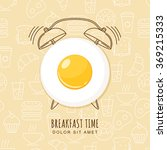 fried egg and outline alarm... | Shutterstock .eps vector #369215333