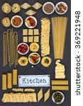 Small photo of Large dried italian pasta food sampler with old metal kitchen sign on grey background.