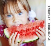 Funny Child Eating Watermelon...