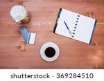 coffee with notepad and pencil... | Shutterstock . vector #369284510