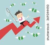 businessman riding success... | Shutterstock .eps vector #369344450