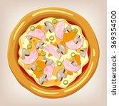 ham and mushroom pizza vector...   Shutterstock .eps vector #369354500