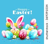easter greeting card with... | Shutterstock .eps vector #369391034