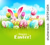 easter greeting card with... | Shutterstock .eps vector #369391604
