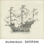 Fantasy Sailing Vessel  Drawn...