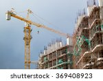 crane build scyscraper before... | Shutterstock . vector #369408923