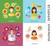 various allergy types symptoms | Shutterstock . vector #369409118