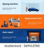 auto mechanic 3 flat banners set | Shutterstock . vector #369413783