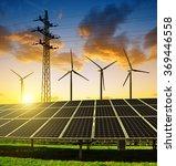 solar panels with wind turbines ... | Shutterstock . vector #369446558
