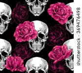 skulls and pink roses on a... | Shutterstock .eps vector #369476498