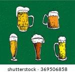 vector set of beer mugs and... | Shutterstock .eps vector #369506858