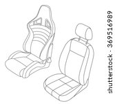 car seat vector line drawing... | Shutterstock .eps vector #369516989
