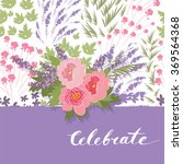floral peony and lavender retro ... | Shutterstock .eps vector #369564368