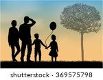 family silhouettes in nature. | Shutterstock .eps vector #369575798