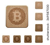set of carved wooden bitcoin...