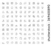 thin line icons set. 100 flat... | Shutterstock .eps vector #369600890