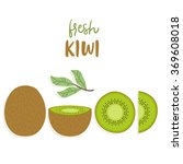 cute set with cartoon kiwi and... | Shutterstock .eps vector #369608018