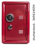 Small photo of Red safe deposit box on a white background